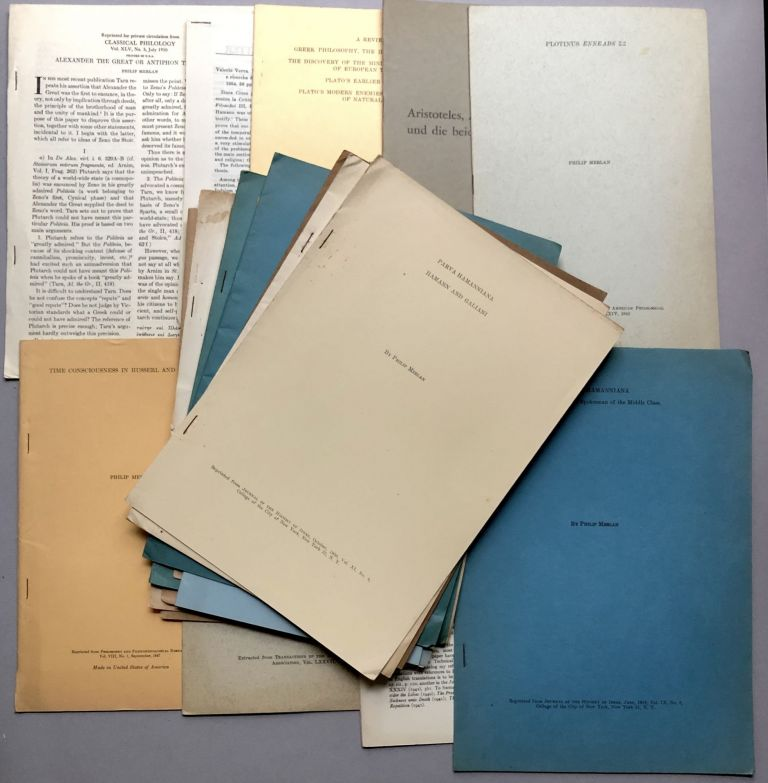 Group of 21 offprints of articles on philosophy, ancient philosophy, classics, phenomenology, Neo-Platonism, etc., from the collection of Wilfrid Sellars. Philip Merlan.