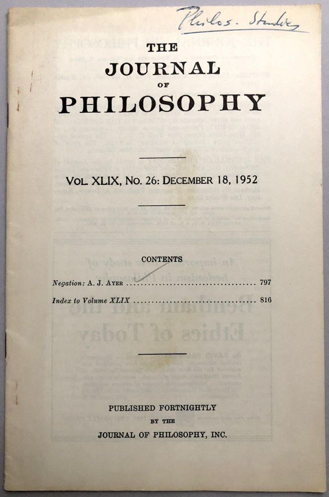 """""""Negation"""" - offprint from The Journal of Philosophy, Dec. 18, 1952, from the collection of Wilfrid Sellars. A. J. Ayer."""