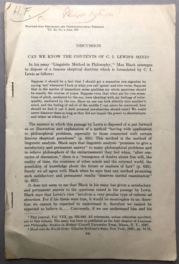 Can We Know the Contents of C. I. Lewis's Mind? Offprint from PHilosophy and Phenomenological Research, 1951 - from the collection of Herbert Feigl. Vincent Tomas.