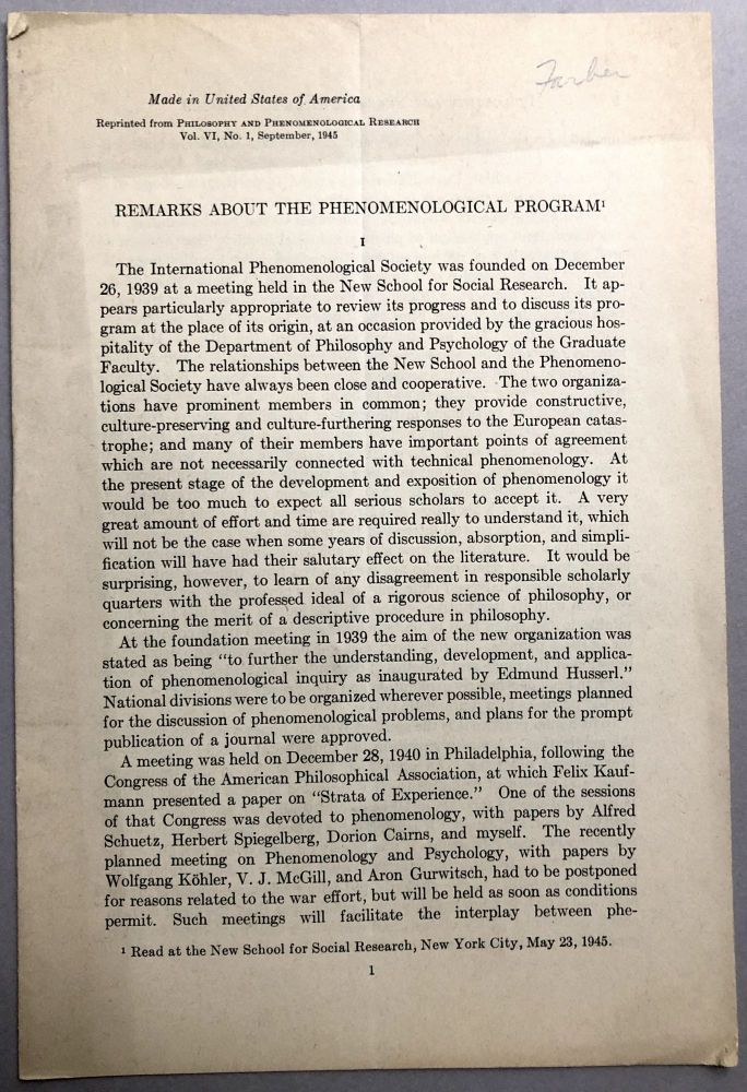 1945 offprint: Remarks about the Phenomenological Program - Wilfird Sellars' copy. Marvin Farber.