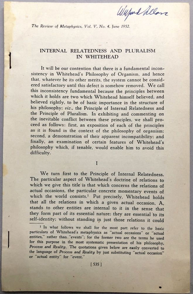 Internal Relatedness and Pluralism in Whitehead, 1952 offprint, copy of Wilfrid Sellars. William P. Alston.