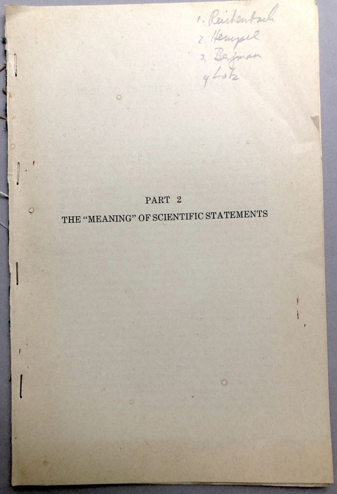 1951 offprint of philosophy articles: The Verifiability Theory of Meaning, The Concept of Cognitive Significance, Comments on Paper by Hempel, Natural and Scientific Language. Hans Reichenbach, Gustav Bergmann, John Lotz, Carl Hempel.
