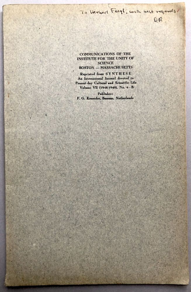 Communications of the Institute for the Unity of Science, offprint from Synthese 1948-1949: Positivism and Realism (Shlick), Remarks on Positivism and Realism (Rynin). Moritz Schlick, D. Rynin.