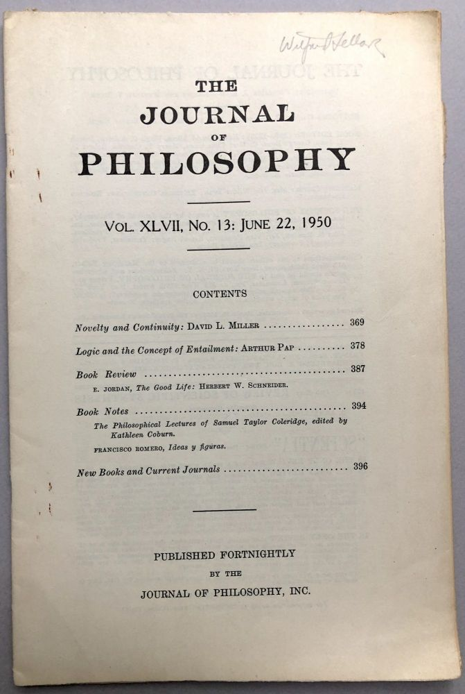 Logic and the Concept of Entailment, annotated in pencil by Wilfrid Sellars, in The Journal of Philosophy, June 22, 1950. Arthur Pap.