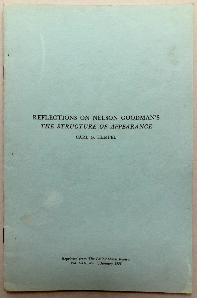 1953 offprint: Reflections on Nelson Goodman's The Structure of Appearance. Carl G. Hempel.