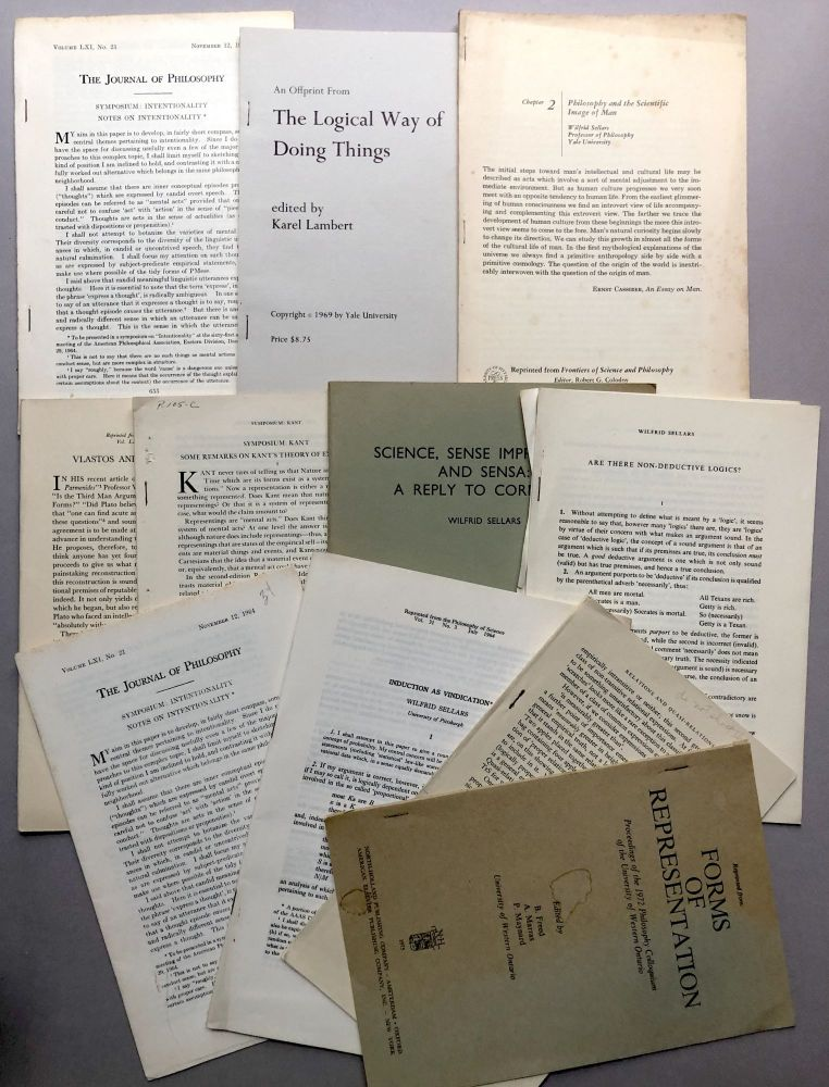 """Group of 10 offprints of articles on philosophy: Induction as Vindation (1964), Notes on Intentionality (1964), The Paradox of Analysis (nd), Vlastos and """"The Third Man"""" (1955), Some Remarks on Kant's Theory of Experience (1967), Science, Sense Impressions, and Sensa: A Reply to Cornman (1971), Are There Non-Deductive Logics? (nd), On the Introduction of Abstract Entities (1975), The Adverbial theory of the Objects of Sensation (1975), Philosophy and the Scientific Image of Man (1962), Metaphysics and the Concept of a Person (1969), Notes on Intentionality (1964). Wilfrid Sellars."""
