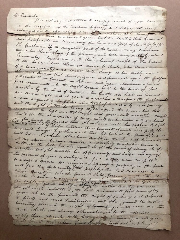 """Ca. 1829-30 draft of a speech before the PA legislature on the question of whether the United States was justified in """"removing the Indians west of the MIssissippi."""" Anon."""