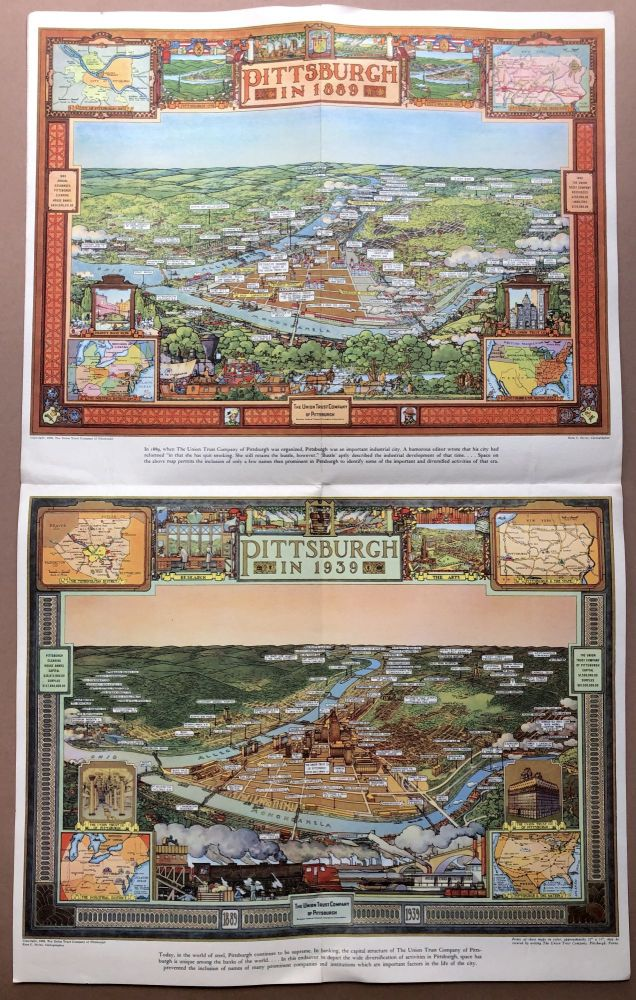 """""""Pittsburgh in 1889; Pittsburgh in 1939"""" birds eye views in color of Pittsburgh, with captions. Ezra C. Styles, or Stiles."""