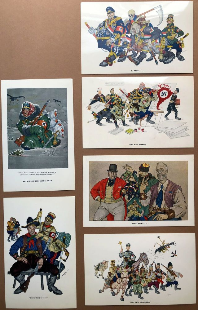 """Set of 6 """"Esky Cards"""" caricatures of Nazis etc. from 1942. Arthur Szyk."""