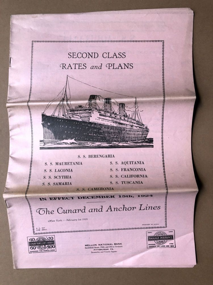Second Class Rates and Plans in effect December 15, 1924. Cunard, Anchor Lines.