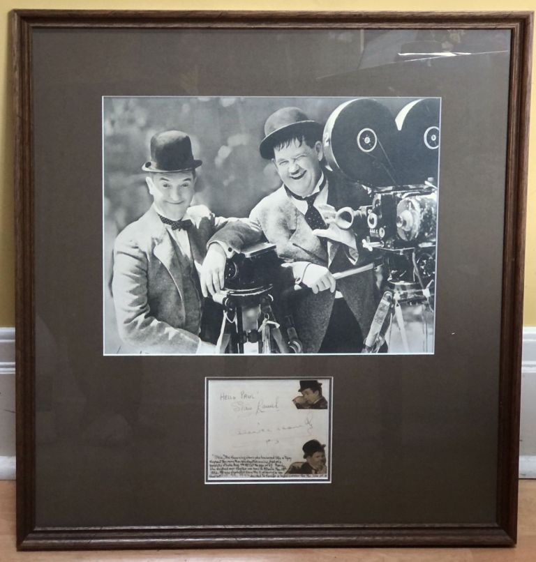 Autographs of Laurel and Hardy in 1940, matted and framed with photo. Stan Laurel, Oliver Hardy.