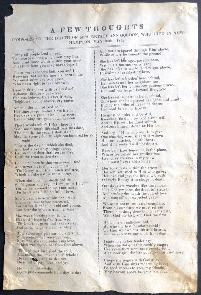 A Few Thoughts on the Death of Miss Betsey Ann Gordon, who Died in New Hampton, May 24th., 1848 -- unrecorded American song sheet. American Song Sheet.