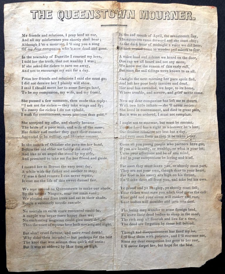 The Queenstown Mourner - 1850s American song sheet. American song sheet.