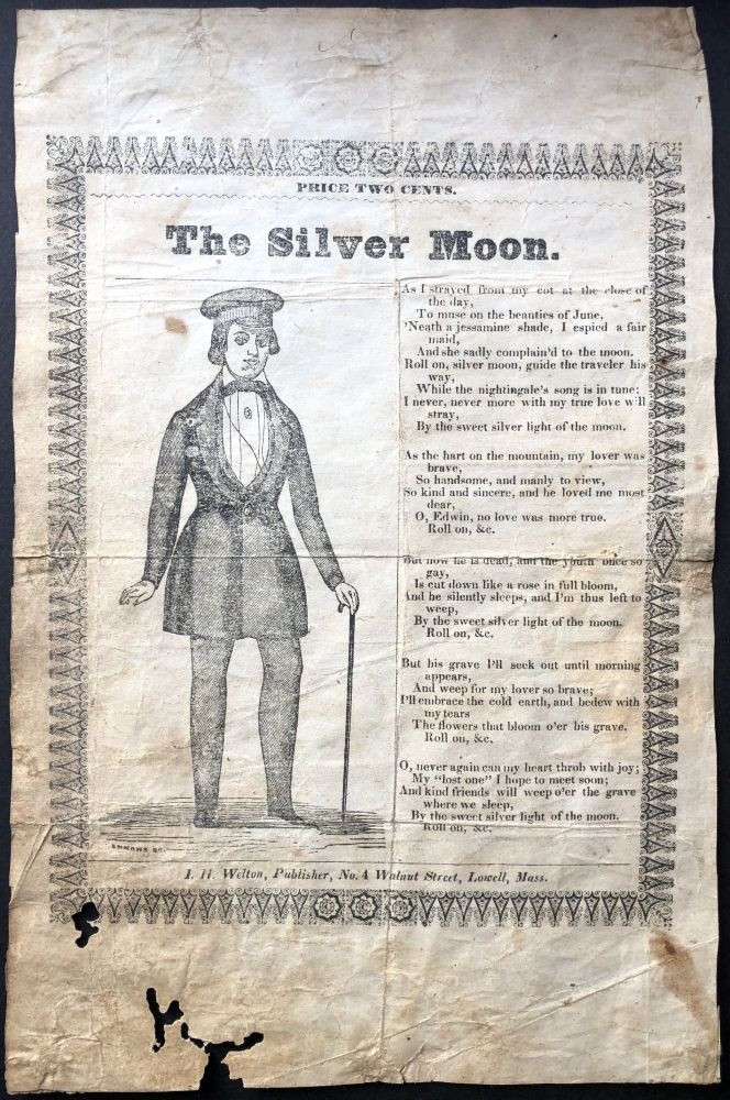 The Silver Moon - rare American song sheet from 1849. American Song Sheet.