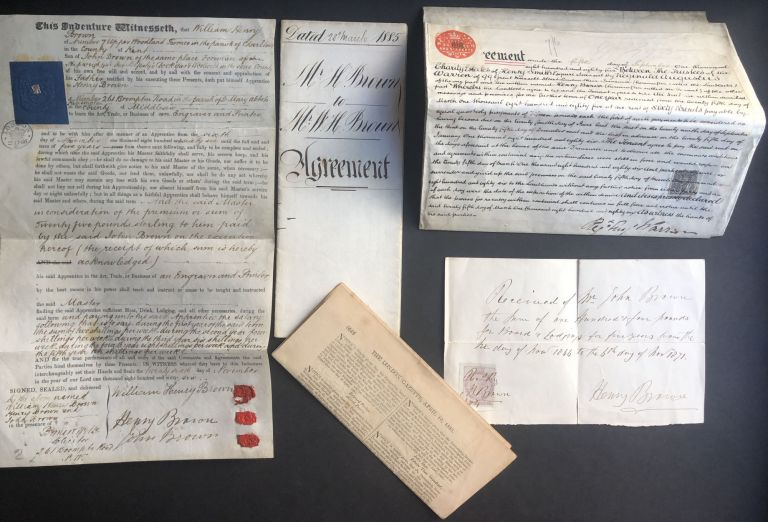 Group of important documents relating to W. & H. Brown, printers, engravers and lithographers, 261 Brompton Rd., Kensington, London. William, Printers and Lithographers Henry Brown.