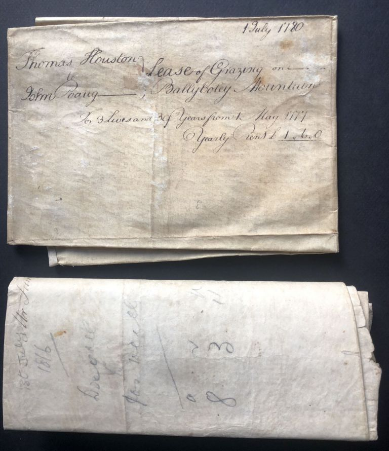 1777 and 1816 indentures for grazing rights and farm rental for land in Ballyboley, Country Antrim, Ireland, one signed by George Augustus Chichester, 2nd Marquess of Donegall. Ireland.