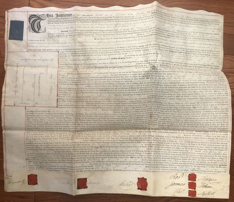 1775 rental agreement for property at Portland Place, London, signed by the architects and builder, et al. Robert and James Adam.