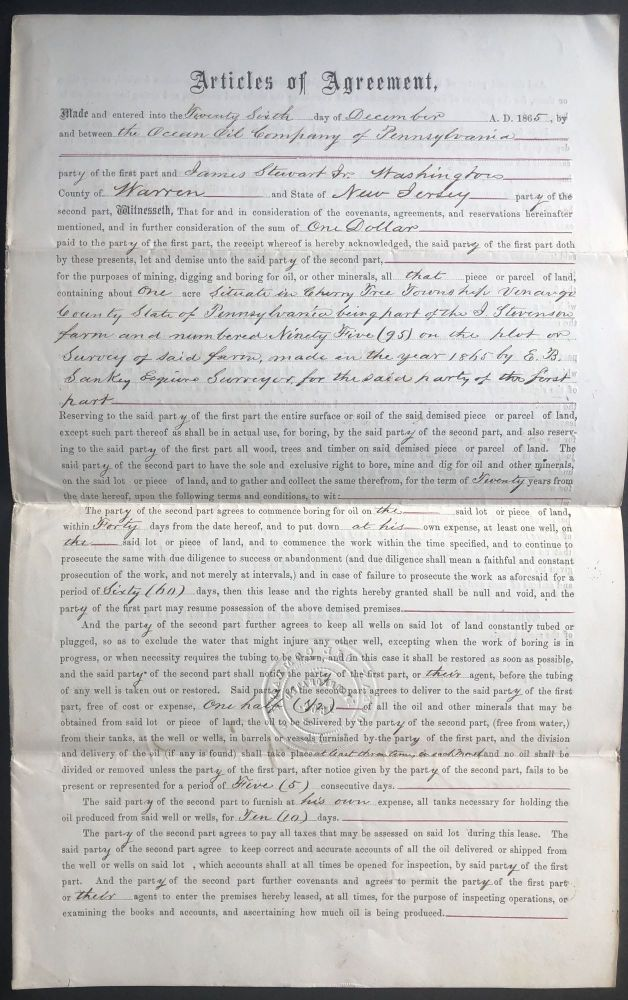 1865 lease agreement for land in oil country, Cherrytree Township, Venango County Pennsylvania, for the purposes of mining, digging and boring for oil. PA Venango County.