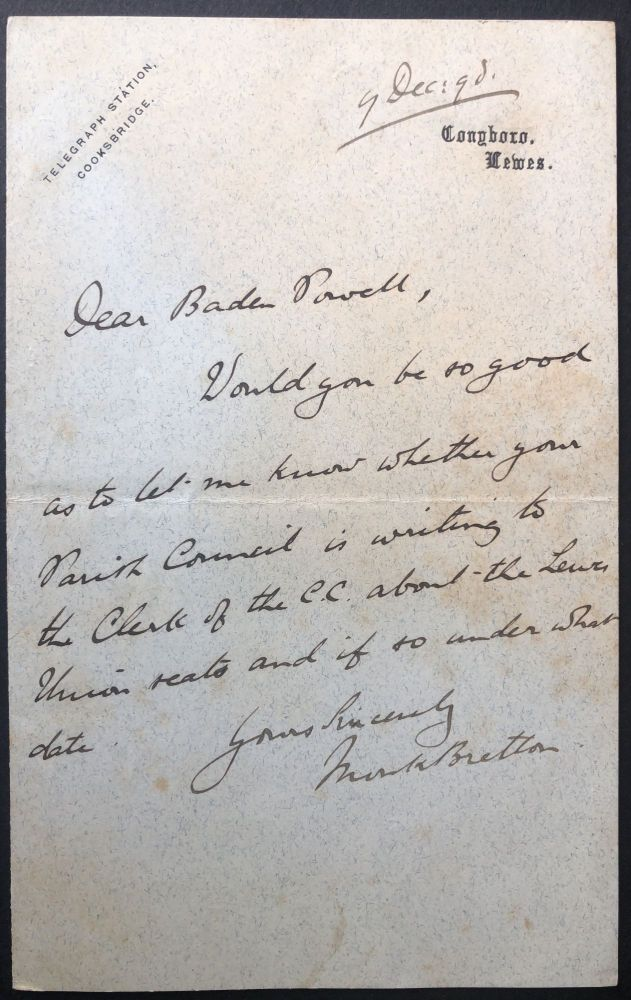 Short handwritten note from 1898 to Thomas Baden Powell re Lewes Union. 1st Baron Monk Bretton John George Dodson.