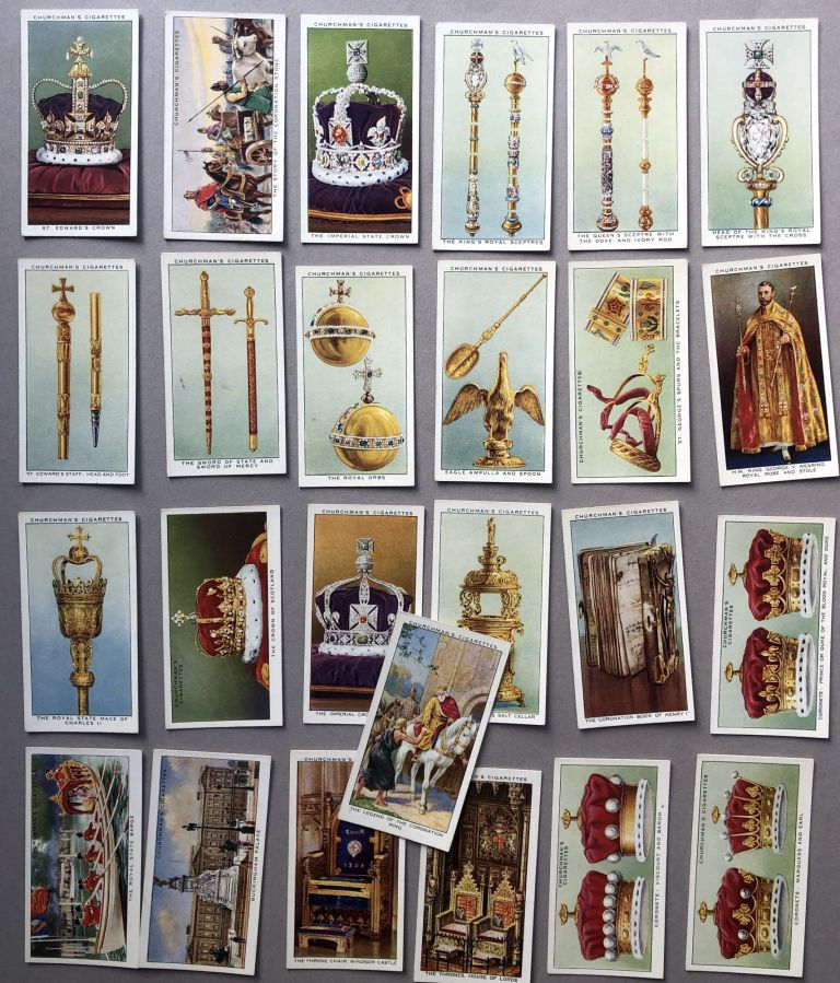 The King's Coronation, complete set of 50 cards, 1937, George V. Cigarette Cards.