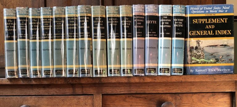 History of United States Naval Operations in World War II, 15 volumes, all first editions in dust jackets. Samuel Eliot Morison.