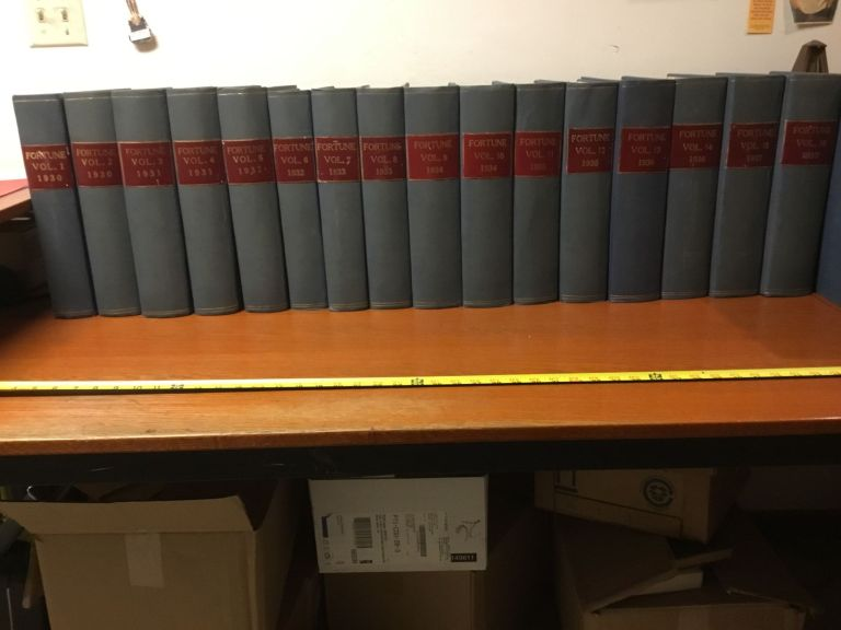Fortune Magazine, run of issues Vol. I, No. 1 - Vol. XXIV, No. 6 (from February 1930 - December 1941); 24 bound volumes. Henry R. Luce, Parker Lloyd-Smith, Margaret Bourke-White, T. M. Cleland, James Agee, Walker Evans, Archibald MacLeish, Jacob Lawrence, Ralph Ingersoll, Eric Hodgins, Et. Al.