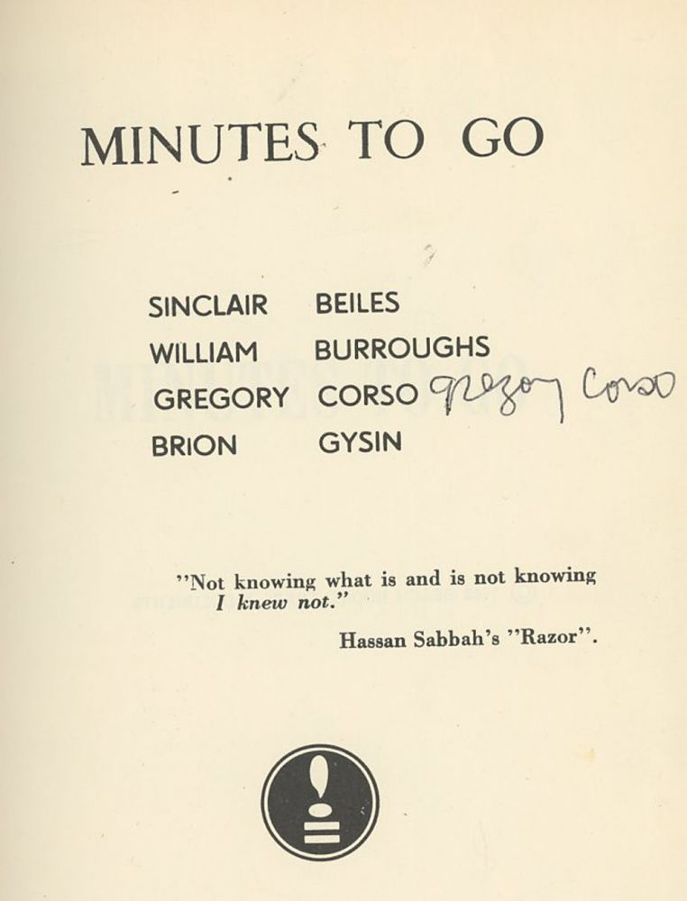 Minutes to Go, SIGNED by Gregory Corso