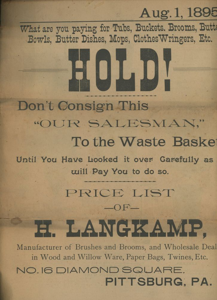 Price List of H. Langkamp, Manufacturer of Brushes, Brooms, and...