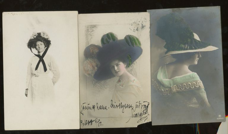 26 Real Photo Post Cards of Women in Hats. Frieda Gofferje Carlton Publishing, William Hudlett, Miss Morrison's Penny Photo.
