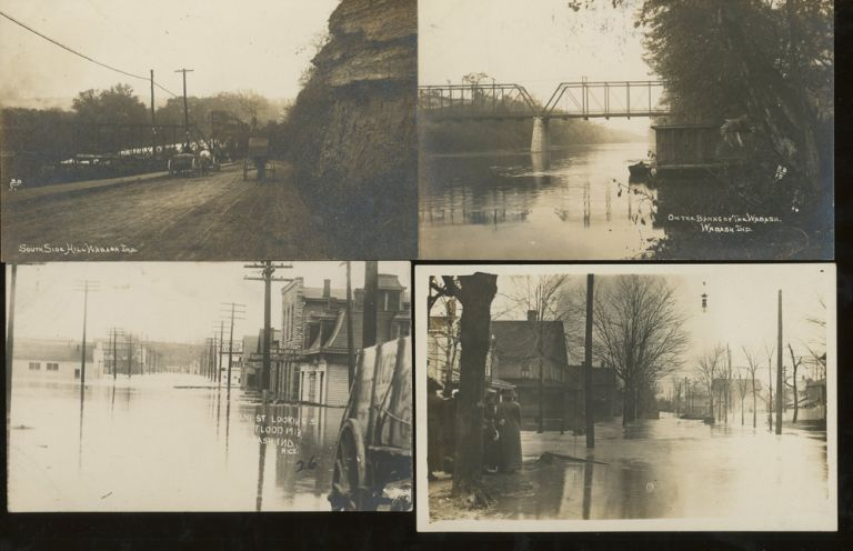 10 Post Cards of Wabash Indiana, Including Views of the 1913 Wabash Flood. Brooks and Brown.