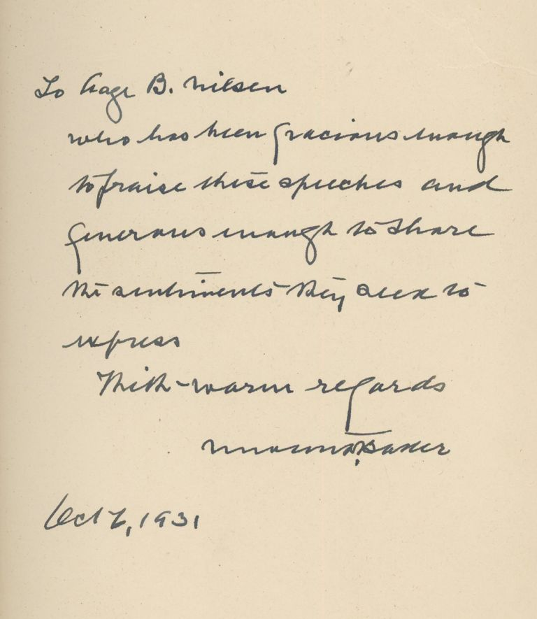 Frontiers of Freedom, Inscribed by Newton D. Baker. Newton D. Baker.