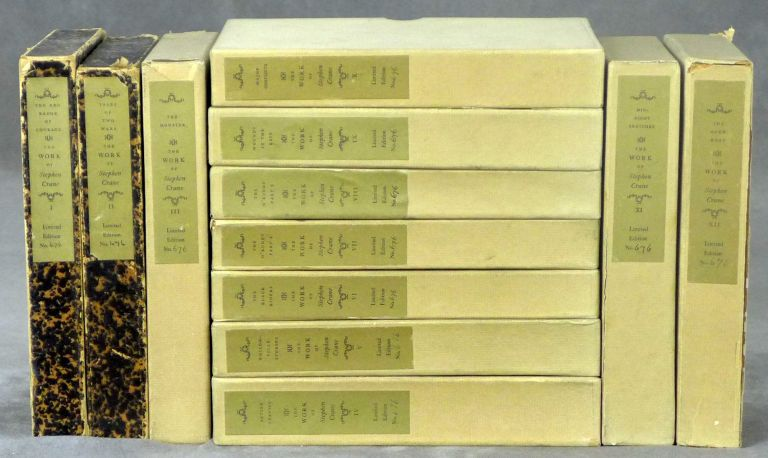 The Work Of Stephen Crane, Complete in Twelve Volumes, Including: I. The Red Badge of Courage and The Veteran, II. Tales of Two Wars, III. The Monster, IV. Active Service, V. Whilomville Stories, VI. Black Riders, VII. O'Ruddy Part I, VIII. O'Ruddy Part II, IX. Wounds In The Rain, X. Major Conflicts, XI. Midnight Sketches, XII. The Open Boat. Stephen Crane, Wilson Follett.