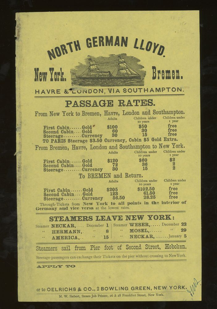 North German Lloyd Sailing Schedule and Rates of Passage, New York to Bremen. North German Lloyd.