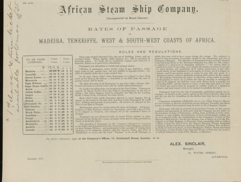 African Steam Ship Company Rates of Passage to Madeira, Teneriffe, West and South- West Coasts of Africa, December, 1875, With Letter of Transmittal on African Steam Ship Company Letterhead. African Steam Ship Company.