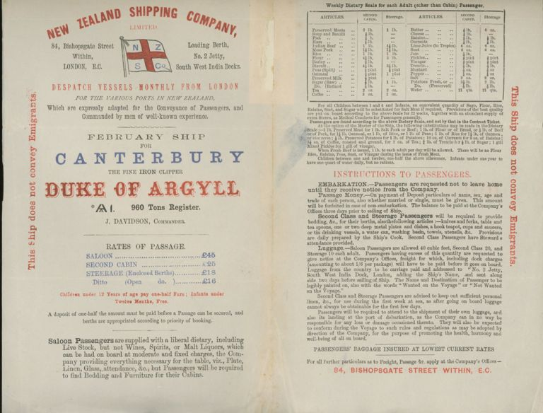 """New Zealand Shipping Company Sailing Schedule and Rates of Passage for the Iron Clipper """"Duke of Argyll"""", England to New Zealand, With Letter of Transmittal on New Zealand Shipping Company Letterhead. New Zealand Shipping Company."""
