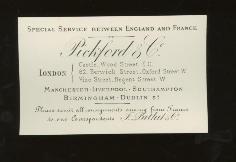 Pickford and Co. Steamship Company Calling Card, Passage Between England and France, ca. 1878. Pickford and Co.