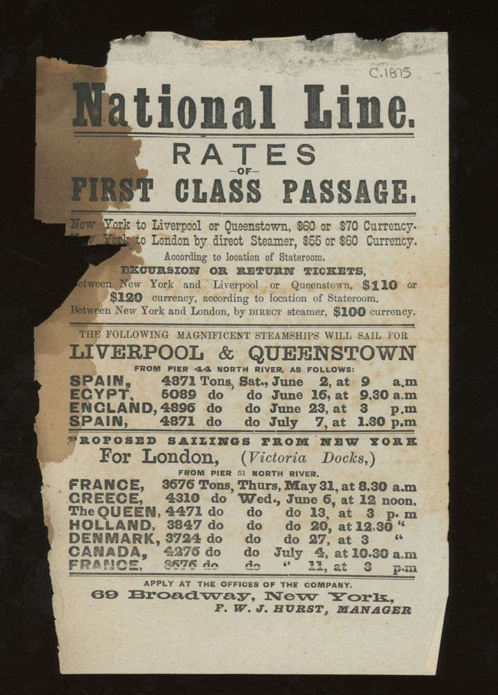 National Steamship Line Rates of First Class Passage, New York to England, Spain, Holland, Denmark, France, Egypt, &c. c. 1875. National Line.
