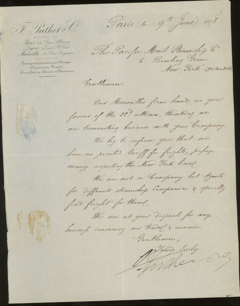 Letter of Transmittal On F. Putlet and Company Shipping Agents Letterhead, Addressed to The Pacific Mail Steamship Co. 1878. F. Putlet, Shipping Agents Company.