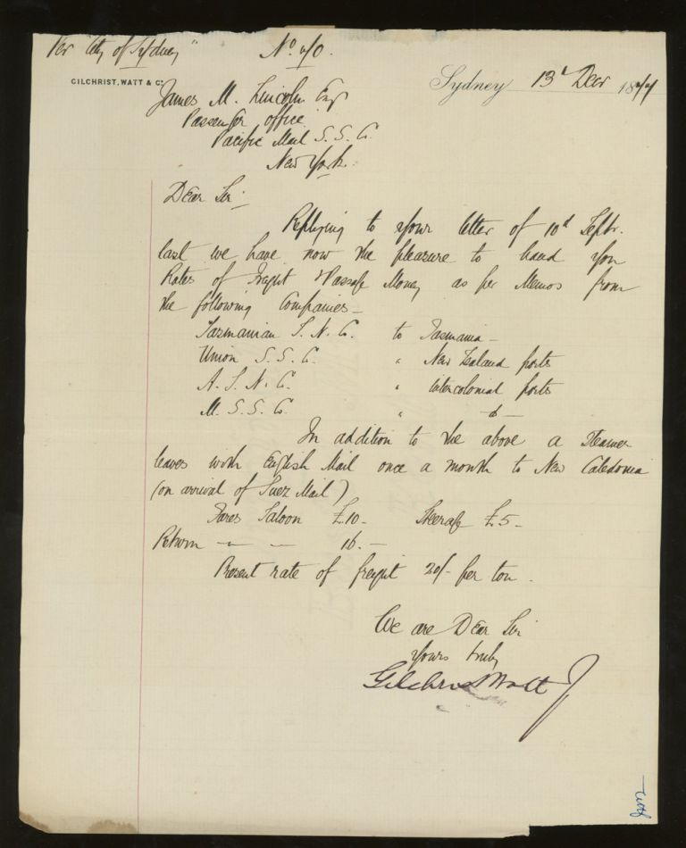 Letter of Transmittal On Gilchrist, Watt and Company Shipping Agents Letterhead, Rates and Fares for South Pacific Ports, Addressed to James M. Lincoln of The Pacific Mail Steamship Co. 1877. Watt Gilchrist, Company Shipping Agents.