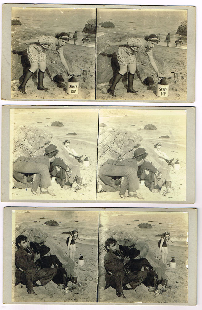 Lot of 15 comedic stereographic cards showing two men spying on a woman at the shore, ca. 1920. n/a.