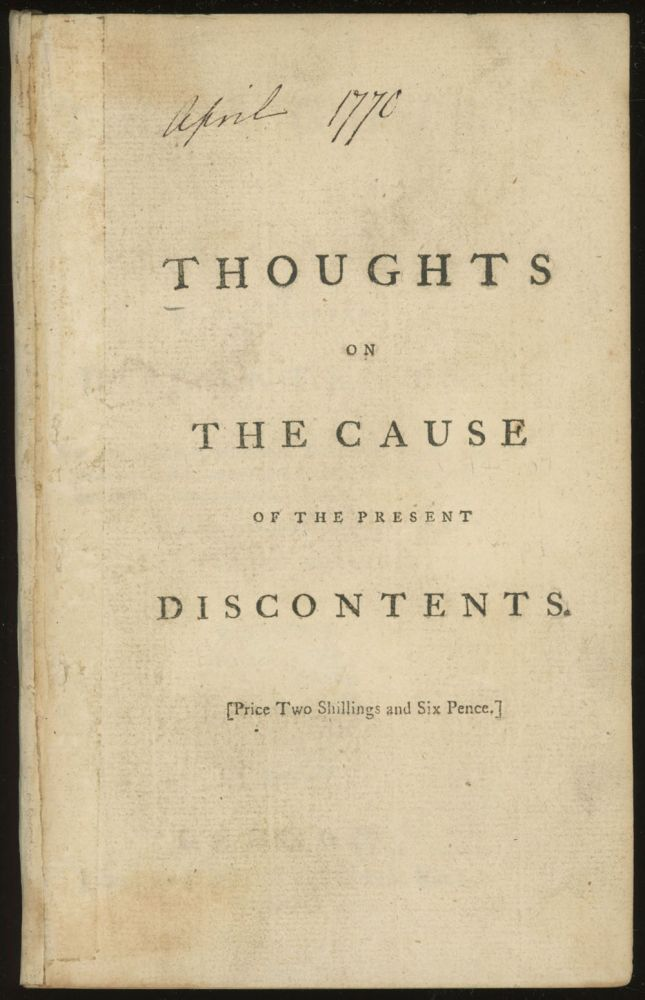 Thoughts on the Cause of the Present Discontents