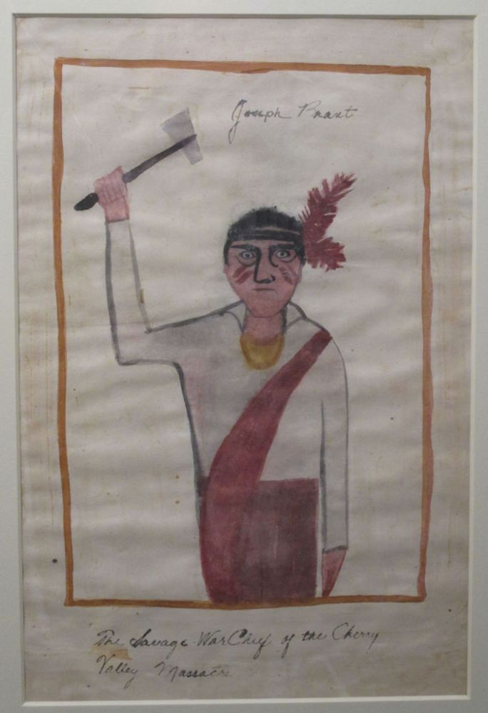 Watercolor Painting : 'Joseph Brant: The Savage War Chief of the Cherry Valley Massacre' [caption title]. possibly a. child American primitive painter.