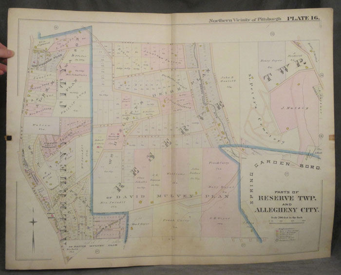 Plat Map of the Northern Vicinity of Pittsburgh, including Parts of Reserve Township and Allegheny City. Allegheny City Map, Pittsburgh, Reserve, North side.