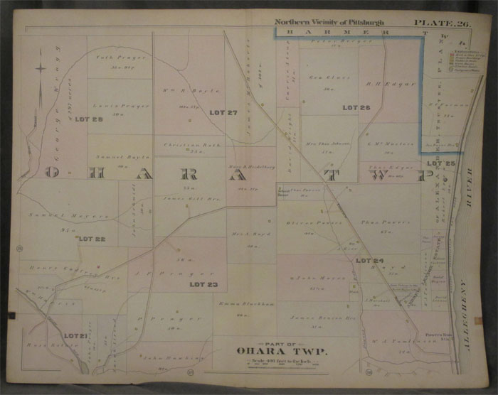 Plat Map of the Northern Vicinity of Pittsburgh, Including Part of O'Hara Township. Pittsburgh Map, O'Hara Township.