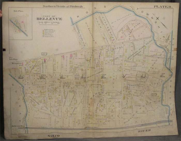 Plat Map of the Northern Vicinity of Pittsburgh, Including Part of Bellevue. Pittsburgh Map, Bellevue.