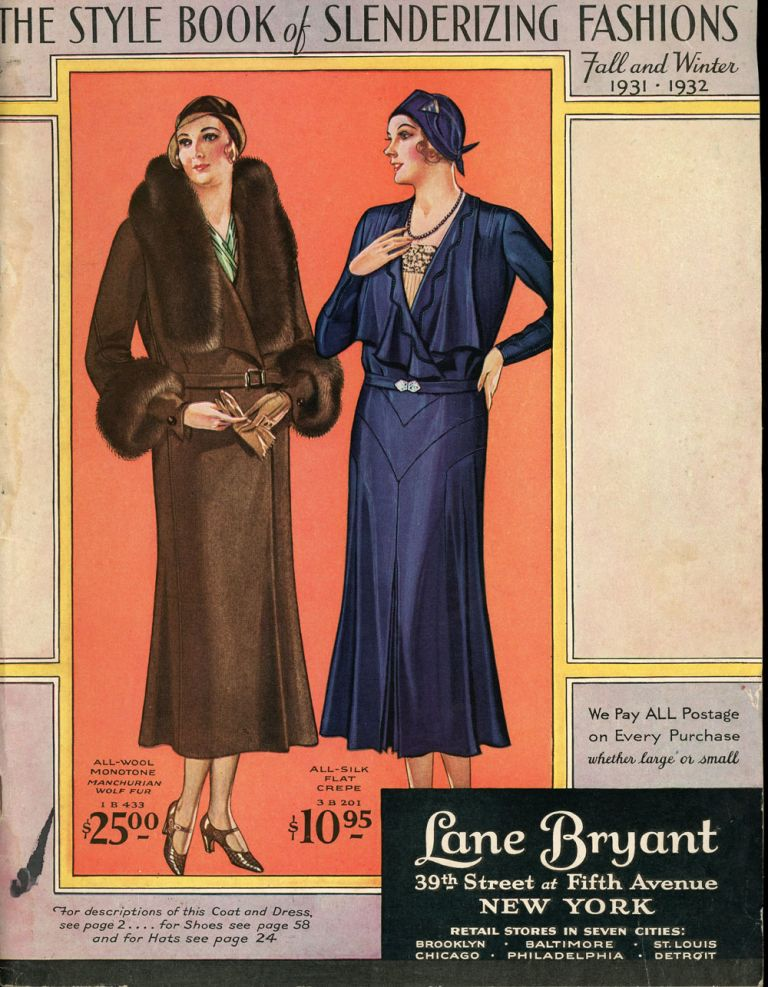 The Style Book of Slenderizing Fashions, Fall and Winter 1931-1932. Lane Bryant.
