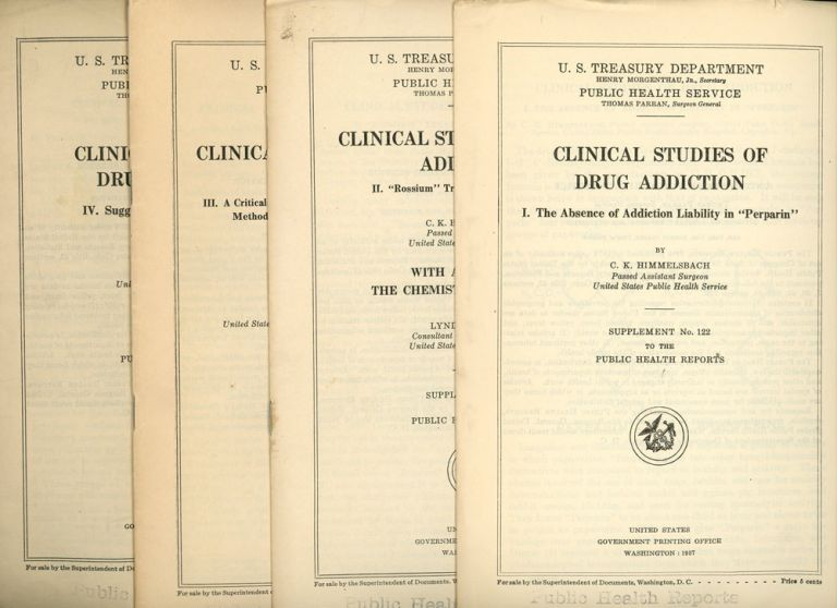 Group of Twelve Government Reports on Drugs and Addiction Issued by the Public Health Service, Including Clinical Studies on Drug Addiction in Four Pamphlets, Proceedings of a Conference with the Surgeon General, A Review of Literature and Addictive Properties of Diaudid (Dihydromorphinone), The Abuse of Codine, Statistical Analysis of Hospitalized Drug Addicts, Public Health Service Publications Suitable for Distribution, Kolb Classification of Drug Addicts, Follow-up Study of Treated Narcotic Drug Addicts, and a Congress Committee Report on Drug Literature. Addiction Drugs, Public Health Service.