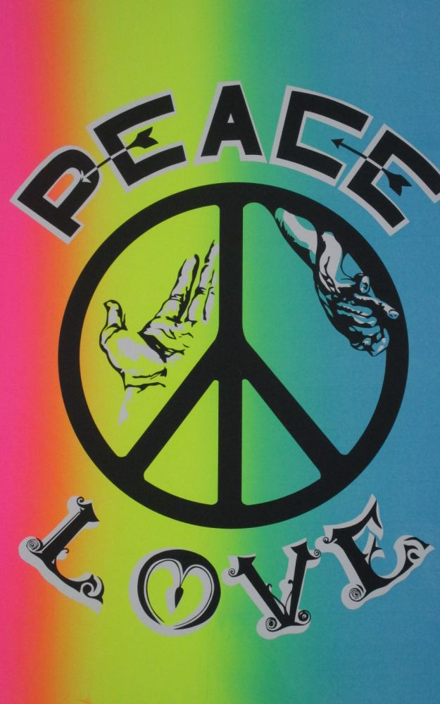"""""""Peace, Love"""" Psychedelica Poster. Peace Counterculture, Poster, Psychedelica."""