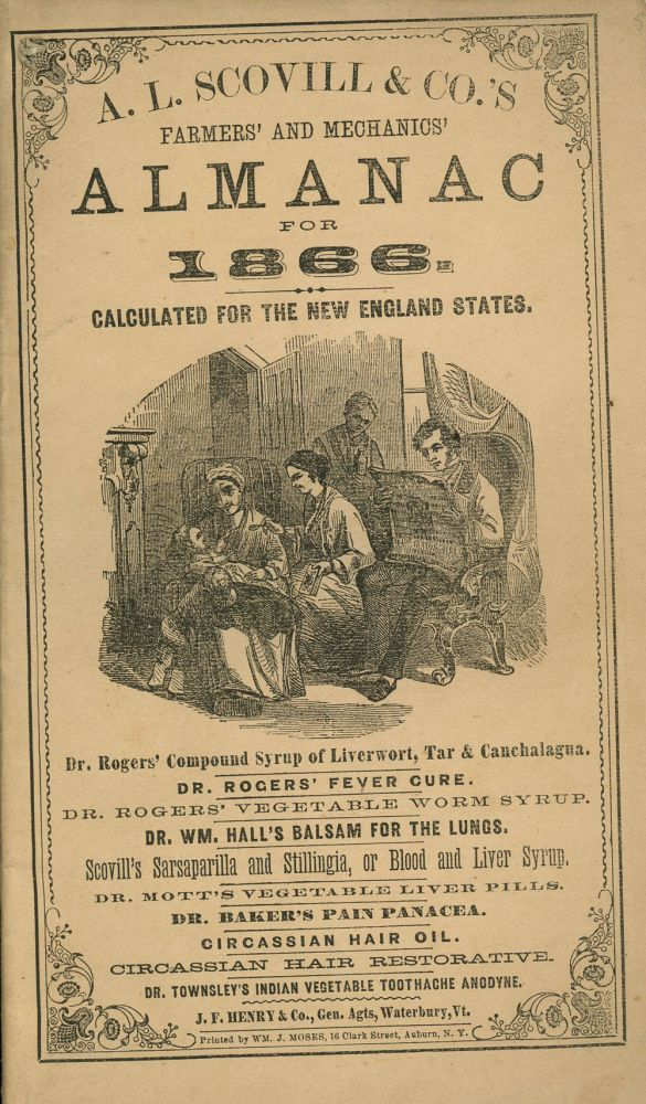 Farmers' and Mechanics' Almanac for 1866, Calculated for the New England States. A L. Scovill and Co.