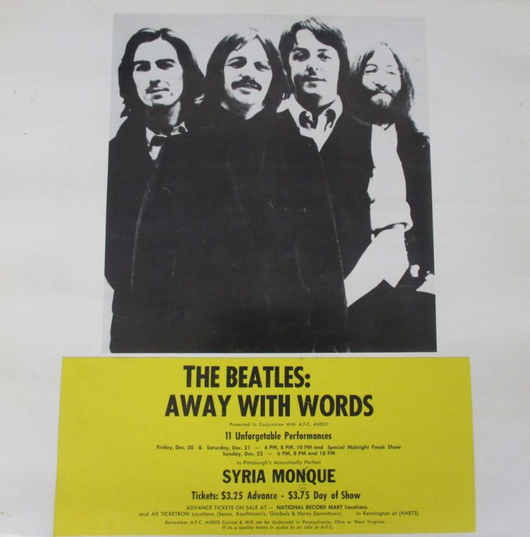 Poster for a Screening of The Beatles: Away With Words Bootleg Film at the Syria Mosque in Pittsburgh. Poster The Beatles, Pittsburgh, Bootleg.